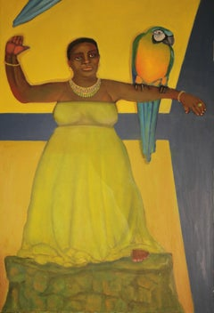 Flight bright yellow background female black central figure myth and romance