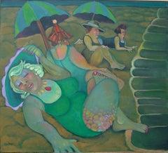 Moon Bathers  festive colorful green Coney island beach denizens women humor