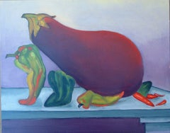 Moving Day   still life vegetables humorous undertones strong bright color