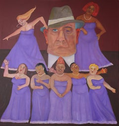 Off Broadway  multi figurative purple colors dancers women in gowns