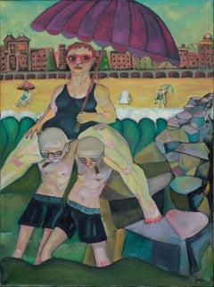 """Procession""  coney island theme beach scene humorous lush green colors"