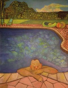 """Reflections""  pool theme sunny colors florida suburbia human condition"