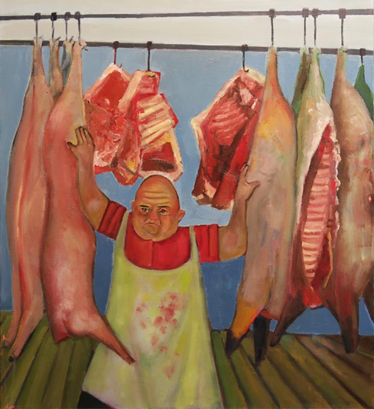 Soutine's Purveyor, humorous butcher with meat, food