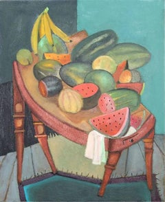top banana, colorful food theme oil painting