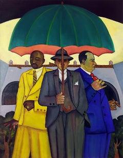 Trio in Rio, bright color oil painting of figure umbrella men in suits