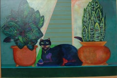 Valentine Cat (double Hearted Cat) bright sunny color cat romantic greens