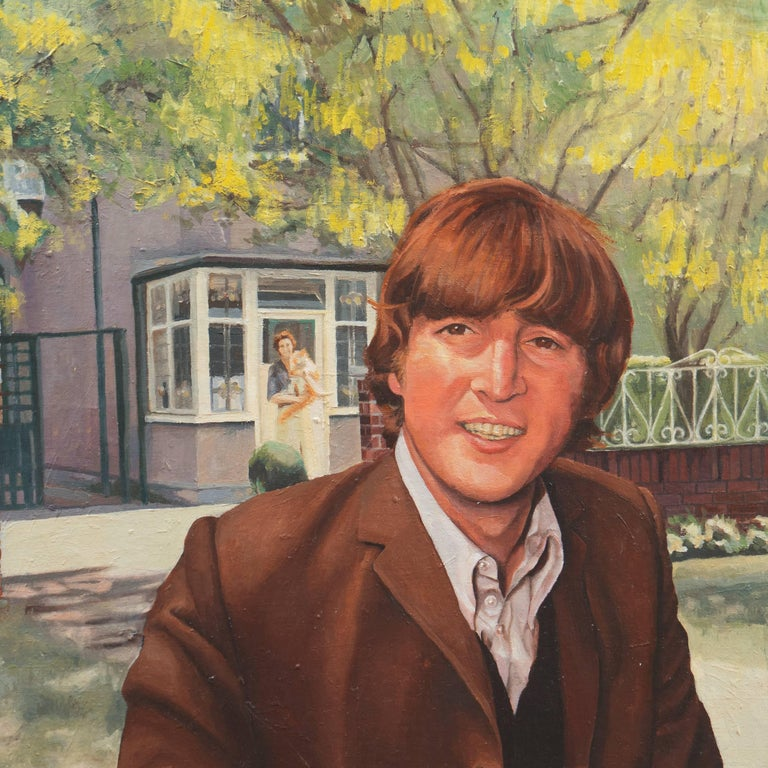 'John and Mimi with Tim', John Lennon, England - Brown Portrait Painting by Stephen Bower