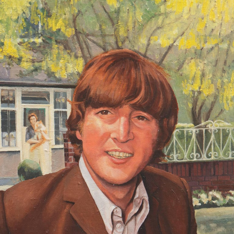A charming and fresh portrait of the musician and composer standing in front of Mendips, the house where he was mostly raised by his mother's sister Mimi, with his aunt standing behind him holding her large ginger and white cat, Timmy, that he grew