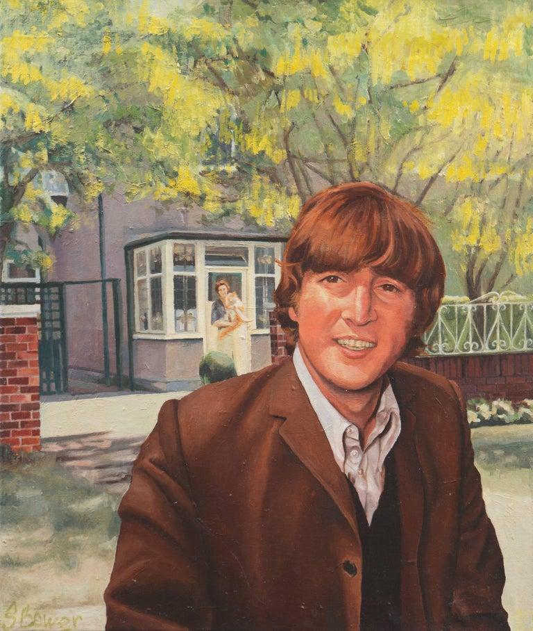 Stephen Bower Portrait Painting - 'John and Mimi with Tim', John Lennon, England