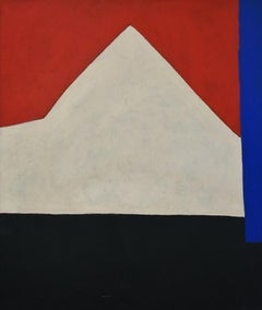 Barn (Abstract Mid Century Inspired Painting on Canvas in Red, White and Black)