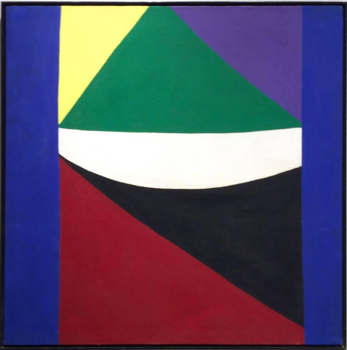 Hammock I (Square Abstract Geometric Painting on Canvas in Bold Primary Colors)