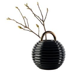 Stephen Burks Contemporary Ceramic Vase in Black Grasso Lines
