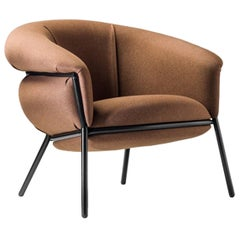 Stephen Burks Contemporary Fabric Upholstered and Iron 'Grasso' Armchair for BD