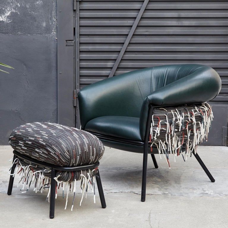 Stephen Burks Contemporary Grasso Green Leather Armchair