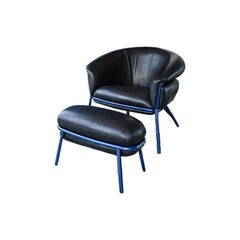 Stephen Burks Contemporary Grasso Leather Armchair and Foot Stool