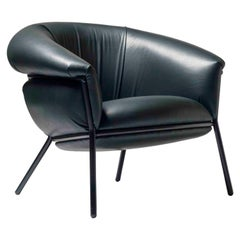 Stephen Burks Contemporary Green Leather and Iron 'Grasso' Armchair for BD