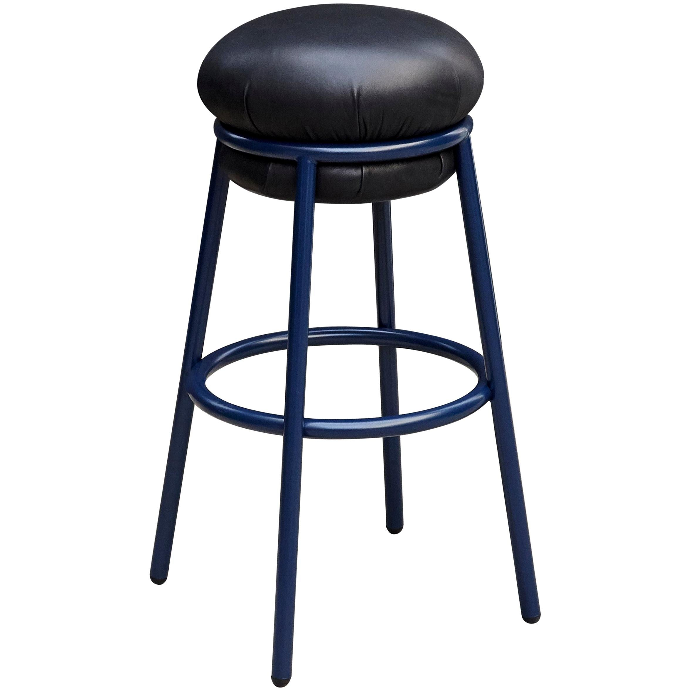 Stephen Burks Grasso Contemporary Black Leather, Blue Lacquered Metal Stool