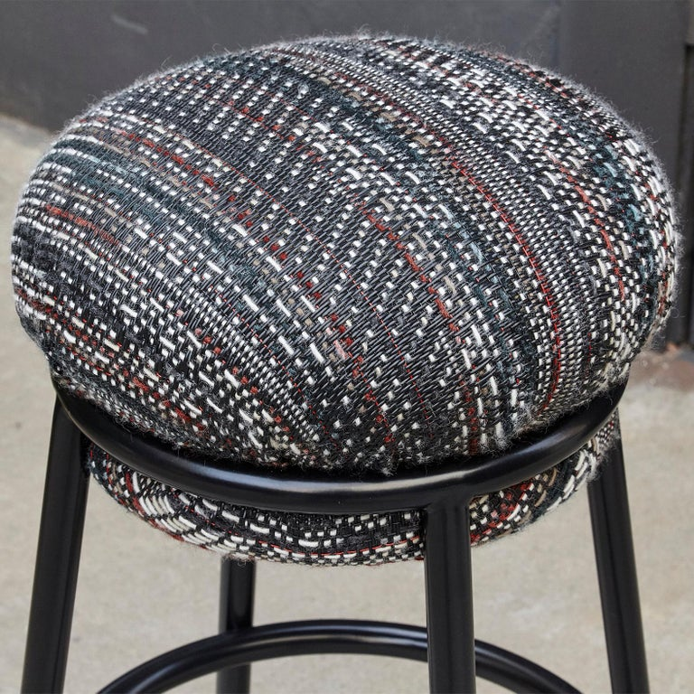 Spanish Stephen Burks Grasso Contemporary Fabric Upholstery, Blac Lacquered Metal Stool  For Sale
