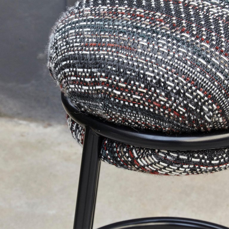 Iron Stephen Burks Grasso Contemporary Fabric Upholstery, Blac Lacquered Metal Stool  For Sale