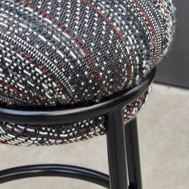 Stephen Burks Grasso Contemporary Fabric Upholstery, Blac Lacquered Metal Stool  For Sale 1