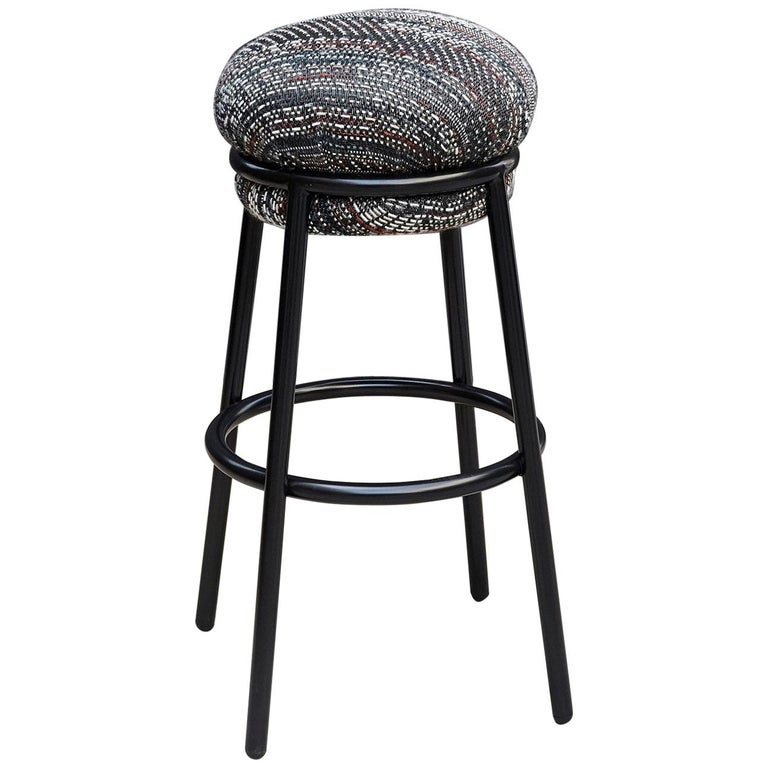 Stephen Burks Grasso Contemporary Fabric Upholstery, Blac Lacquered Metal Stool  For Sale