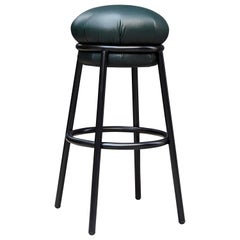 Stephen Burks Grasso Contemporary Green Leather, Black Lacquered Metal Stool