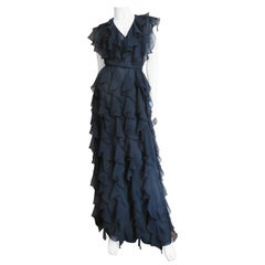 Stephen Burrows 1970s Ruffle Maxi Dress