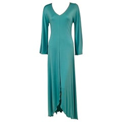 Stephen Burrows Aqua Maxi Dress with Signature Lettuce Edge Hem