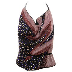 Stephen Burrows Black Wool Jersey Bugle Beads Sequins Halter Top, Circa: 1970's