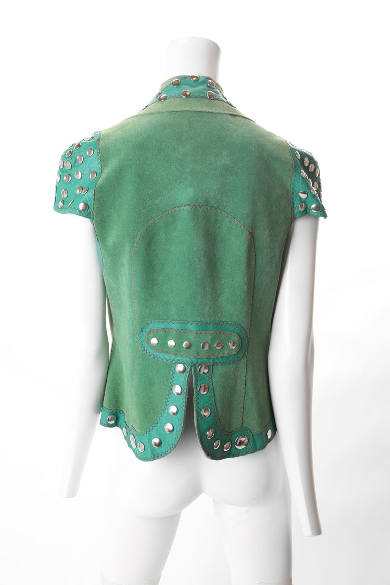 Stephen Burrows Green Suede & Leather Studded Vest, c.1970s. In Good Condition For Sale In New York, NY
