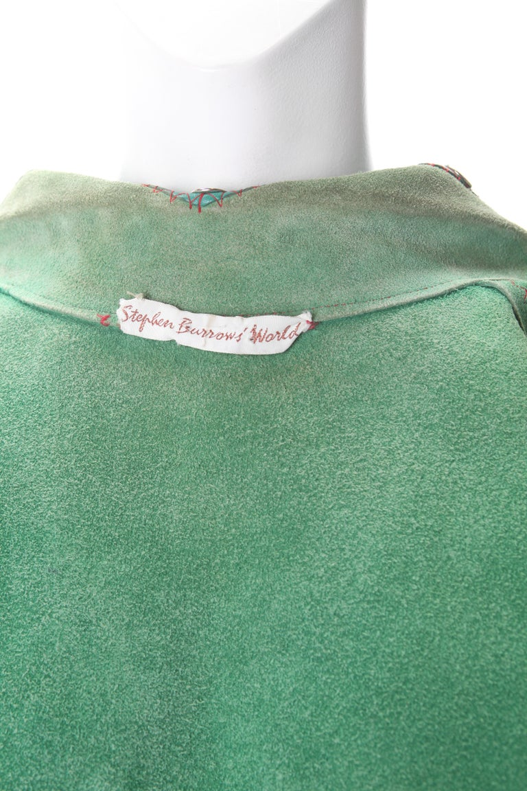 Women's Stephen Burrows Green Suede & Leather Studded Vest, c.1970s. For Sale