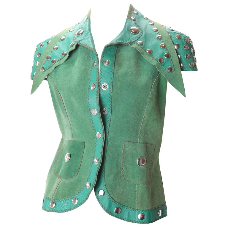 Stephen Burrows Green Suede & Leather Studded Vest, c.1970s. For Sale