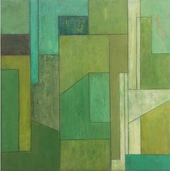 22x22x2 in. Peridot Emerald Turquoise Oil Painting