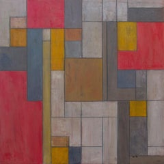 """28x28"""" Abstract oil painting - """"Red and Gold"""" architecture color field"""