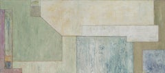 """28x64x2"""" Large horizontal abstract oil painting - architectural form, neutral"""
