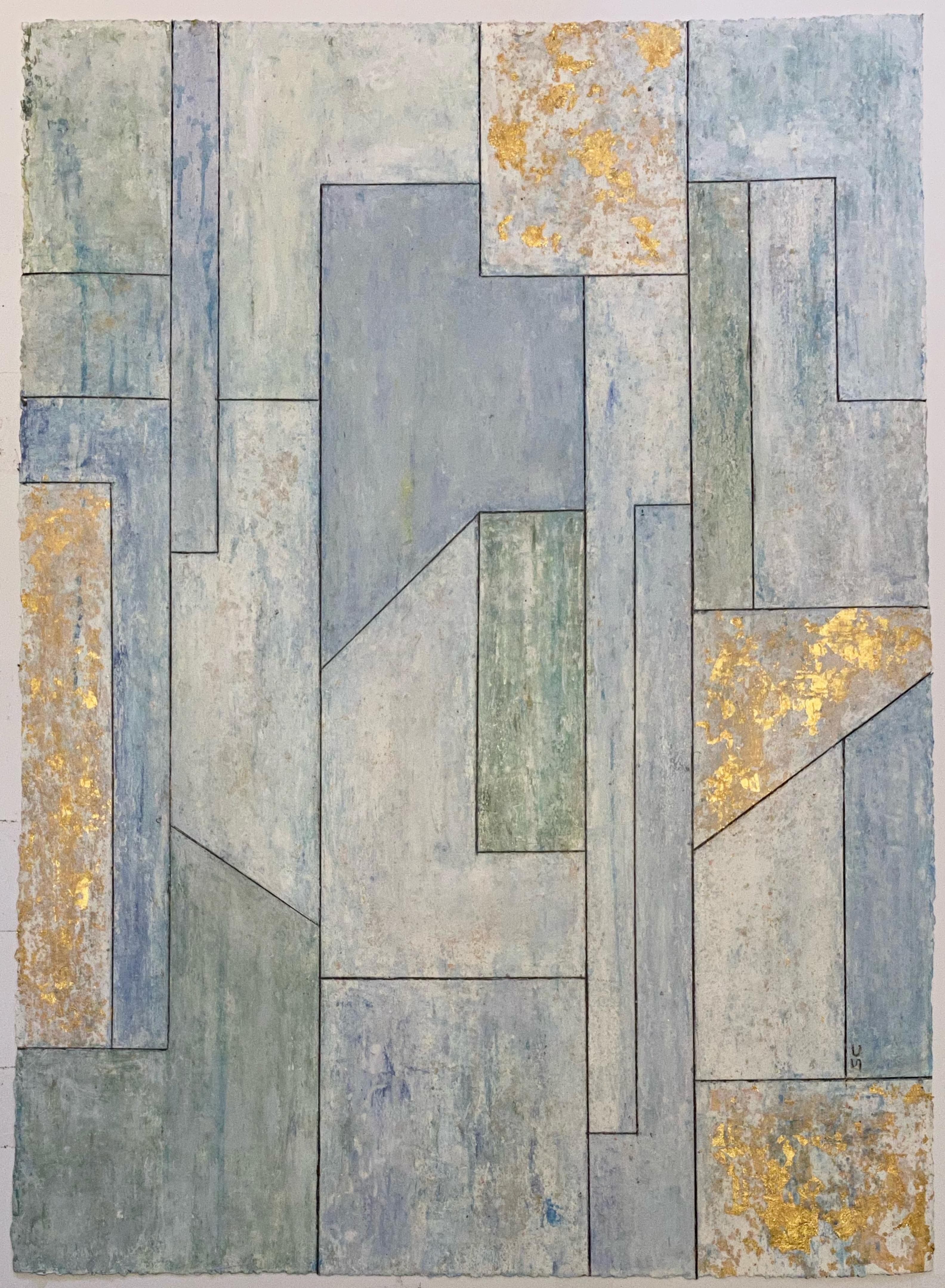30 x 22 inches Oil, Gold leaf oil painting on paper - Enlightenment
