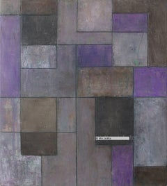 Abstract oil painting -- Purple Classical Geometric