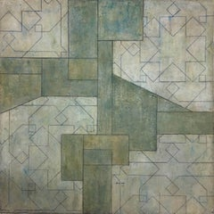 Color abstract oil paintings - Arabesque and geometric shapes - Green