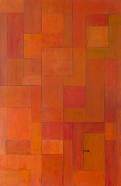 Oil painting 6.5 x 4 ft - Orange Gold - architectural, color