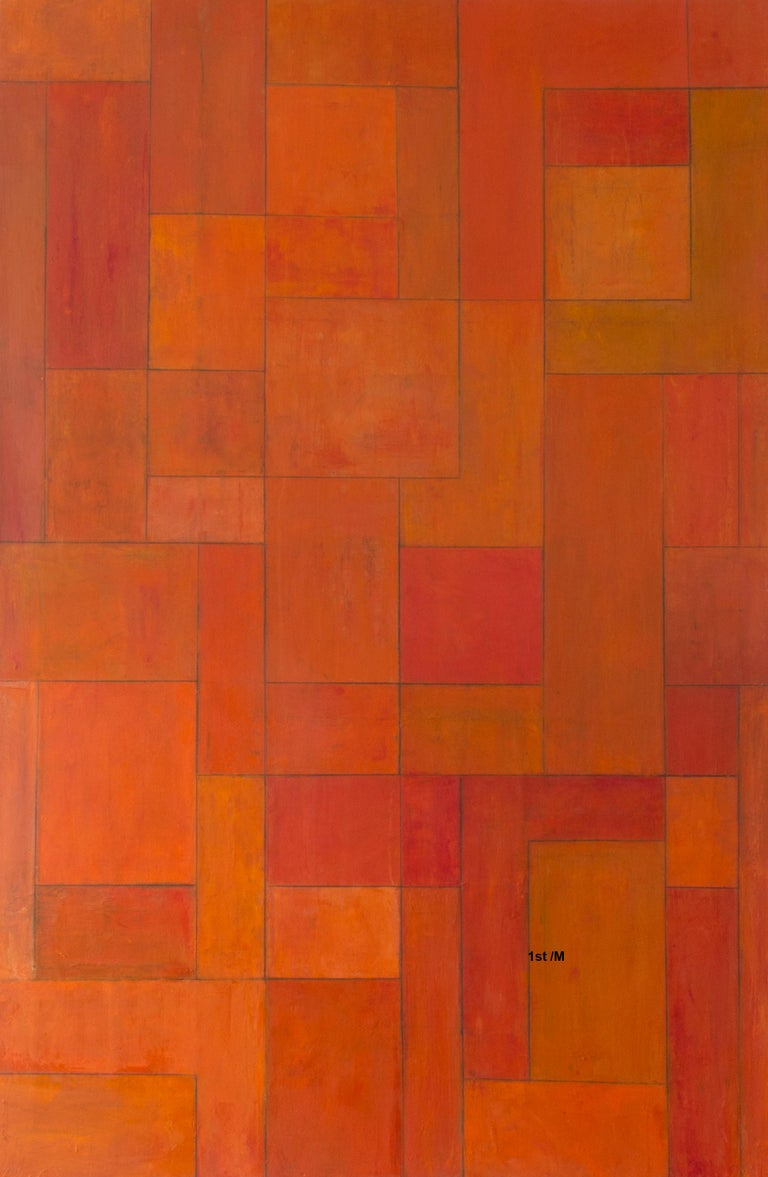 Stephen Cimini Abstract Painting - Oil painting 6.5 x 4 ft - Orange Gold - architectural, color