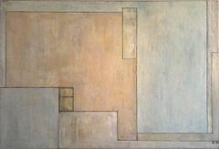 Large horizontal abstract oil painting - architectural forms