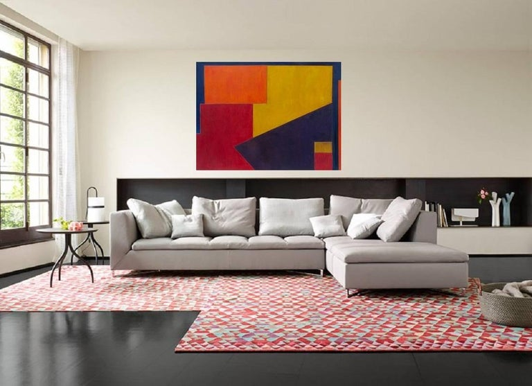 Large horizontal abstract oil painting - Violet Wave II - architectural, color  - Painting by Stephen Cimini