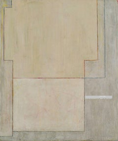 Large vertical abstract oil painting - architectural forms - monochromatic AW