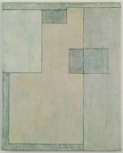 Vertical abstract oil painting  - architectural neutral forms Blue Slate