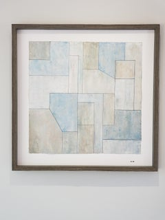 Oil painting on paper - framed in natural wood - Blue and Gray 1