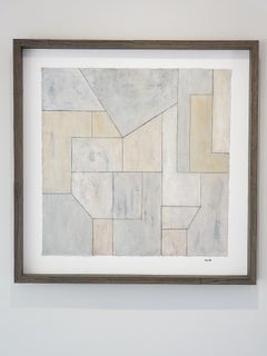 Oil painting on paper - framed in natural wood - Blue and Gray 2
