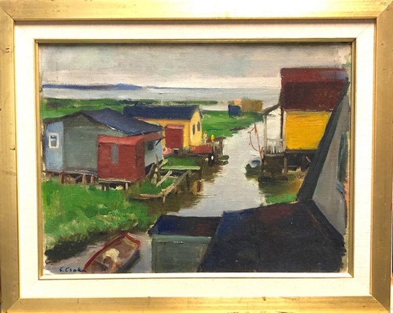 Stephen Csoka Landscape Painting - Hook Creek Hungarian American European Modernism WPA 1935 Long Island Canal Boat