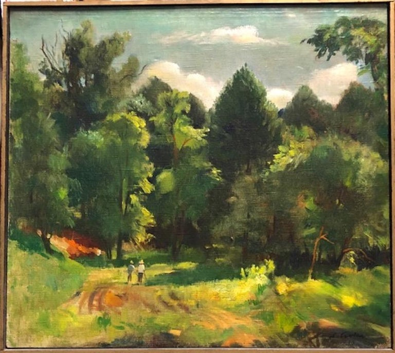 Stephen Csoka Figurative Painting - Landscape American Hungarian European Modernism 1938 Realism Long Island WPA era