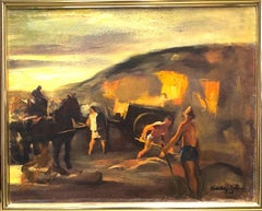 Sand Pit Hungarian American Oil Painting Workers Horses European Modernism 1928