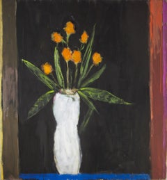 Orange Flowers, White Vase